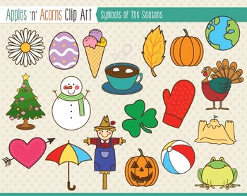 Symbols of the Seasons Clip Art - color and outlines