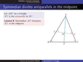 Olympiad geometry. Topic: Symmedians of triangle
