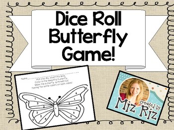 Symmetrical Butterfly Dice Game Printable