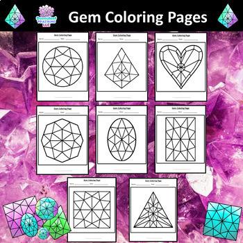 Symmetrical Gem Coloring Pages By Succulent Teaching Llc Tpt