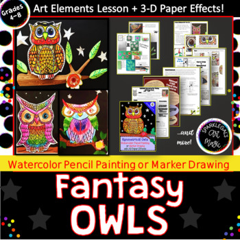 Symmetrical Owls-Watercolor or Marker Drawing with 3-D Paper Sculpture Effects