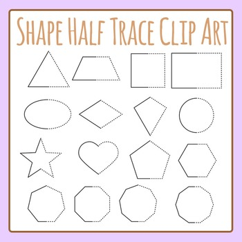 Symmetrical Shapes Half Trace Shapes Clip Art Set Commercial Use