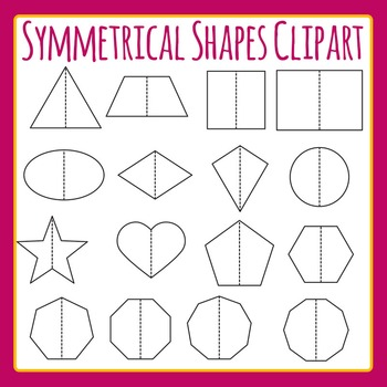 Symmetrical Shapes - Symmetry Fold Lines Shapes Clip Art Set Commercial Use