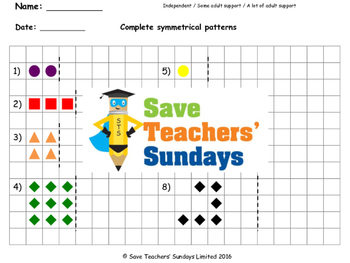 Symmetrical patterns worksheets (2 levels of difficulty)