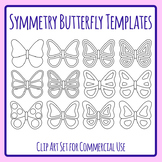 Symmetry Butterfly Templates / Outlines Clip Art Set for Commercial Use