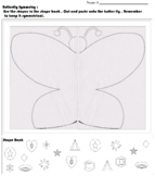 Symmetry Butterfly worksheet with shapes