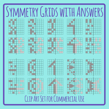 Symmetry Grids with Patterns or Shapes with Answers Clip Art Commercial Use