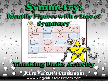 Symmetry: Identify Figures with a Line of Symmetry Thinking Links Activity #1