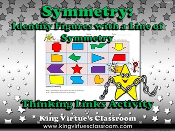 Symmetry: Identify Figures with a Line of Symmetry Thinking Links Activity #2