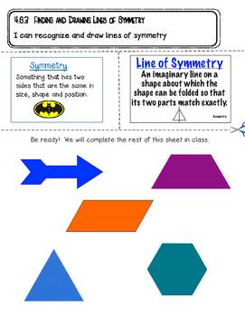 Symmetry Interactive Notebook Page- 4.G.3