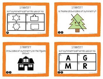 4th Grade Symmetry Task Cards | Symmetry Math Center | Symmetry Activity