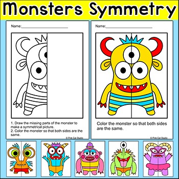 Monsters Symmetry Differentiated Worksheets: Fun for Halloween Math Centers