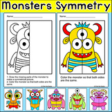 Monsters Lines of Symmetry Activity - Fun End of Year Math Art Worksheets