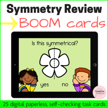 Symmetry Review Digital Task Cards with BOOM Cards for Kindergarten