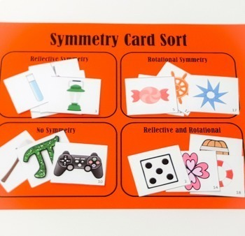 Symmetry Sorting Cards Activity Geometry Reflective Line Rotational
