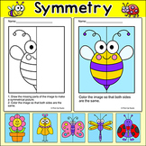 Summer Math Lines of Symmetry Art Pages - NO PREP Morning Work Worksheets