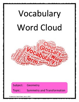 Symmetry Transformations Vocabulary Word Cloud Word Bank Handout Geometry