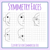 Symmetry Work - Half Faces with Grid Clip Art Set for Commercial Use