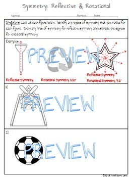 Symmetry Worksheet Reflective Line and Rotational Geometry