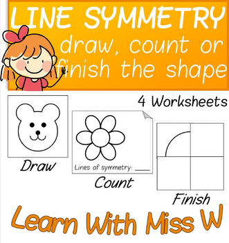 Symmetry: Drawing Lines / Count the Lines / Finish the Shape - 4 Worksheets