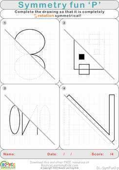 Symmetry fun (21 distance learning worksheets for Visual perception & Hand-eye)