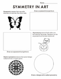 Symmetry in Art Worksheet:  Radial, Symmetrical, Asymmetrical  (Sub Plan)