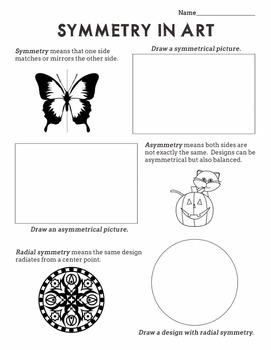 Symmetry in Art Worksheet Radial, Symmetrical, Asymmetrical (Sub Plan)