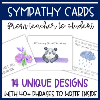Sympathy Cards (from Teacher to Students) for Grief, Loss, and Difficult Times