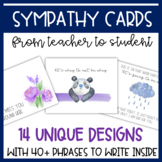 Sympathy Cards (from Teacher to Students) for Grief, Loss,