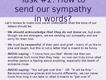 Sympathy and Grief - Lesson Plan and Activity