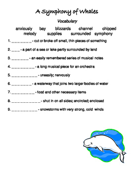 FREE Symphony of Whales Reading Street vocabulary