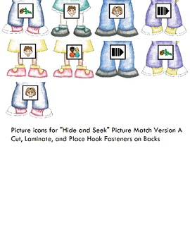"""Symple Reader's Week 1: Focus Vocabulary """"Hide & Seek Picture Match"""" Version A"""