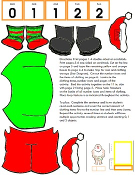 Symple Reader's Week 13: Put Clothes on Santa Math Numbers and Counting Activity
