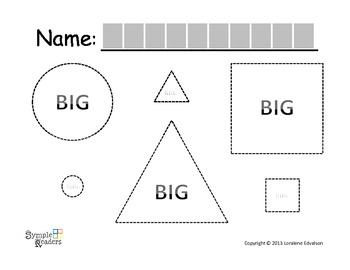 Symple Reader's Week 14: Tracing Worksheet: BIG and LITTLE