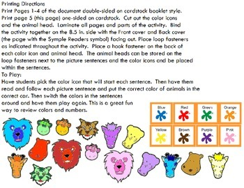 Symple Reader's Week 17: Color Activity& Number; What color is in each Car?