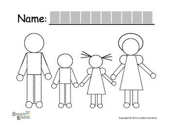 "Symple Reader's Week 19:  Tracing Worksheet ""Family"""