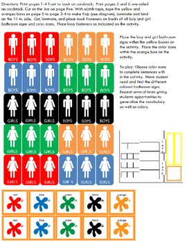 "Symple Reader's Week 6: Math Activity: Colors: ""Bathroom Signs"""