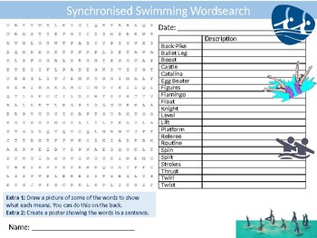Synchronised Swimming Wordsearch Sheet Starter Activity Keywords PE Sports
