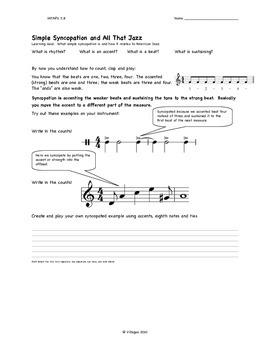 Syncopation and Jazz, an Introduction to