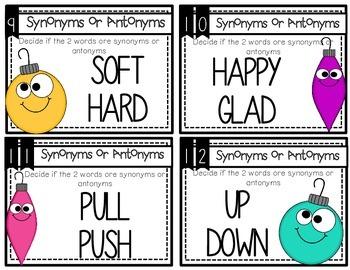 Synonym 7 Antonym: Holiday Task Cards