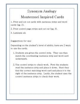Synonym Analogy Cards- Montessori Inspired