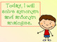 Synonyms and Antonyms Analogies for PROMETHEAN Board