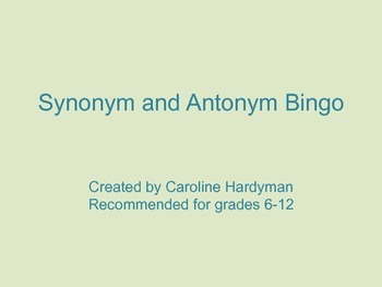 Synonym Antonym Bingo