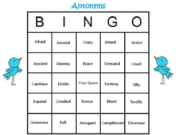 Synonym & Antonym Game: BINGO