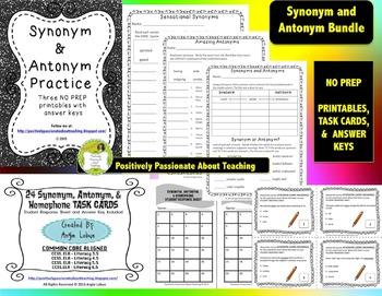 Synonym & Antonym Bundle: Practice Printables and Task Cards