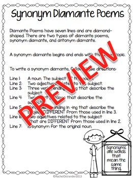 Synonym & Antonym Diamante Poems - Defining & Writing