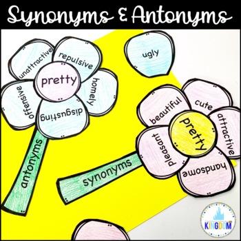 Spring Craftivity Synonym Antonym Activity Bundle - Use with INBs or as ELA Sort