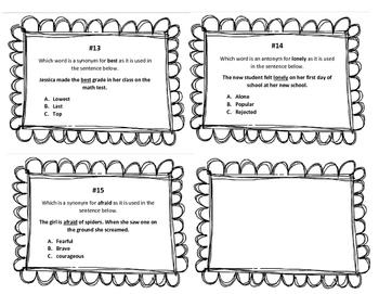 Synonym, Antonym, Homonym Task Cards