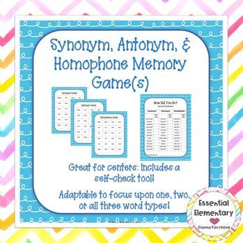 Synonym, Antonym, & Homophone Memory Game(s)