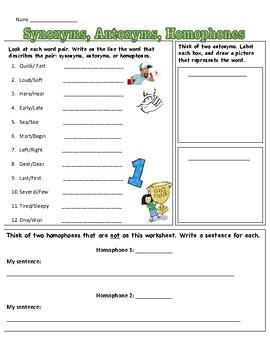Synonym/Antonym/Homophone Worksheet
